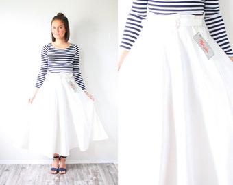 Vintage classic 1950's belted skirt // modest skirt // off white cream skirt // accordion pleat skirt // medium summer skirt // dead stock
