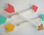 Nursery Arrow .Large 20 inch Arrow .  Modern Nursery .Coral . Mint . Mustard . Gold . Tribal Nursery . Boho Baby . Wooden Arrow