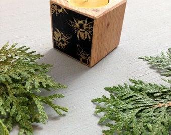 Bumble Bee Votive, Christmas Gift, Tea Light, Reclaimed Wood, Housewarming Gift