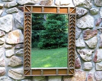 Twig Framed Mirror Arrow Design in Raw Sienna Crackle Finish
