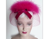 Vintage 1950s Hat//Hot Pink//Marabou Feathers//High Fashion Creme//Strouss//50s Hat//Garden Party// Mad Men// Rockabilly//Mod