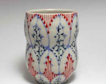 Ceramic Tumbler - Juice Cup, Yunomi - Handmade with Sky Blue, Red and Navy Pattern