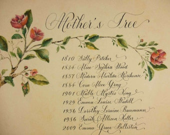Family Tree.  Made to order original art and calligraphy