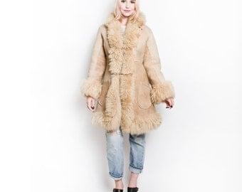Vintage 70s Coat - Shearling Fur Beige Suede Boho Hippie Jacket 1970s - Small / XS