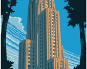 Vintage Style Pittsburgh Travel Poster - Cathedral of Learning