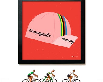 Gifts for Him, Pop Art, Campagnolo Cycling Cap in Pink and Red