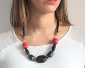 Cherry red and black statement necklace