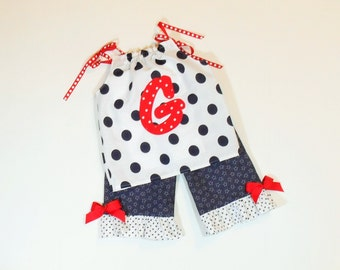 GIRLS PATRIOTIC Size 6 Months to 6 Monogram Top With Ruffled Capris or Shorts Red White Blue Summer Clothes Baby Toddler