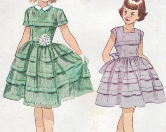 Size 8-1959 Girl's Dress Simplicity 3184 Breast 26