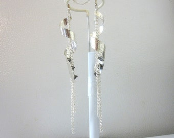 Twisted Silver Spike Earrings Long Chain Shoulder Sweepers