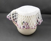 White Crochet Beaded Jug Cover with Pink Beads, Beaded Glass Cover, Bowl Cover, Creamer Cover, Beaded Doily, Outdoor Dining, Food Cover