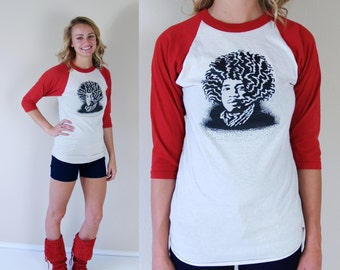 vtg 80s JIMI HENDRIX Baseball Tee SHIRT Small retro indie rock music womens red black white graphic psychedelic