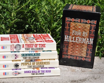 Four boxed set by Tony Hillerman, A Theif of Time, Skinwalkers, People of Darkness, Dance Hall of the Dead, mystery, suspense