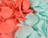 Coral and Aqua Mint | 200 Rose Petals, Artificial Petals, Wedding Decoration, Flower Girl Petals, Shower, Table Scatter