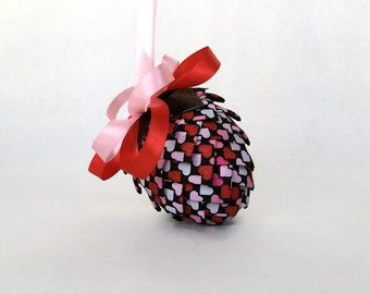 Black and Red Hearts Ribbon Pinecone Ornament Easter Egg