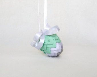 Mint Green/Heather Gray/White Ribbon Pinecone Easter Egg Ornament