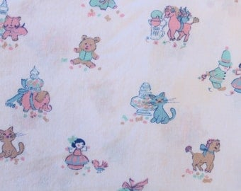 Mid Century Pastel Baby Toys Fitted Crib Sheet