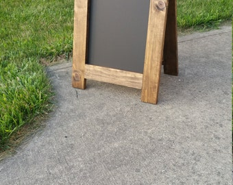 Rustic Wood Double Sided Table Top Chalkboard Easel // Sign // Wedding //