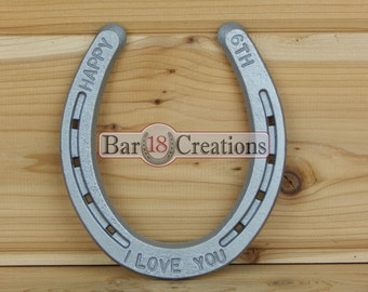 6th Anniversary Stamped Horseshoe - personalized 6th Anniversary Gift, 2010 anniversary, Home Decor, Equestrian, Western