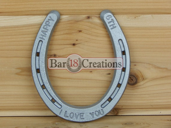 6th Wedding Anniversary Traditional Gifts: 6th Anniversary Stamped Horseshoe 6th Anniversary Gift For