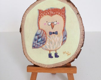 Hand Painted Owl with Glasses on Wood by Megumi Lemons