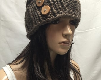 Knit Headband Ribbed Light Brown Toasty Warm Hazelnut With Wood Buttons Warm And Cozy