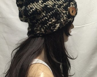Knit Slouchy Hat Beanie Army Colored With Wood Button Warm And Cozy
