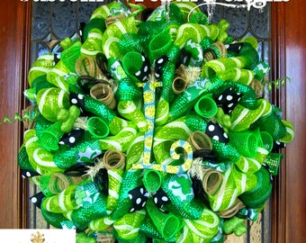 Whimsical Monogram St. Patricks Wreath