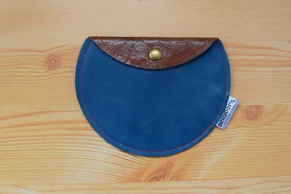 Leather coin purse, brown coin purse, blue leather purse, blue coin purse, brown leather pouch, leather card holder, leather brown purse