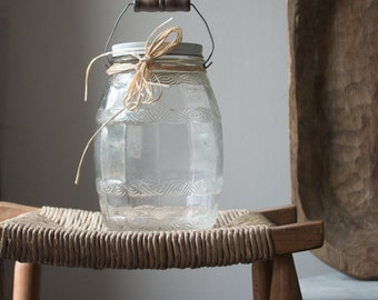Antique Glass Barrel Jar