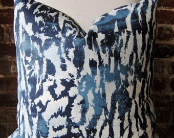 Feline Pillow Cover - Indigo - decorator pillow - designer pillow