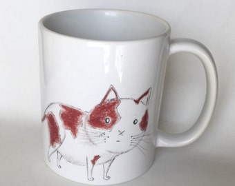 Fat Cat Mug - Funny Cat Mugs - Cute Cat Art - Cat Lovers - Calico Cat - Gifts For Cat Lovers - Cat Coffee Mugs - Coffee and Cats - Kawaii