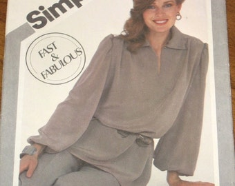 Simplicity 5214 Tunic Top Pull on Pants Womens Misses Easy Vintage 1980s Easy Sewing Pattern Size 12 14 16 Bust 34 36 38 Uncut Factory Folds