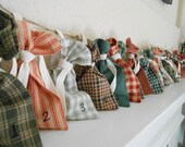 Christmas Advent Calendar Fabric Bags Homespun Red and Green Plaid / Christmas Countdown Advent Calendar