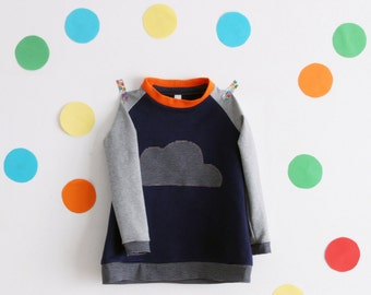 Toddler girl raglan tunic dress, long sleeve. Cloud applique. Only one available. Ready to ship. Size 3-4 years.