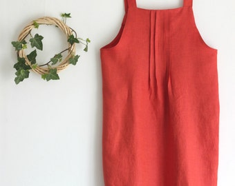 Dungarees dress, washed linen. Pleated, japanese style smock. Made in Italy. Sizes S to XL