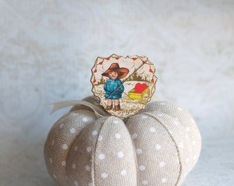 Sweetheart Wagon Needle Minder : magnet wooden cross stitch tool needle holder Vintage Valentine's Day February organization embroidery