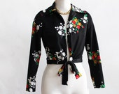 Dancing queen 70s floral party top salsa dancing tie at waist Saturday Night Fever disco bianca jagger small blouse unique