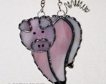 Stained Glass Suncatcher - Pink Pig, Piggy, Original Design, Handmade