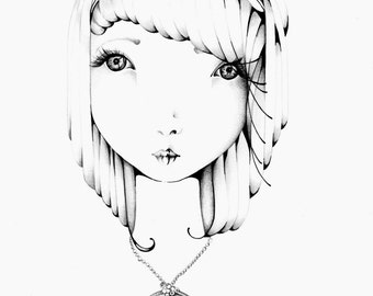 Original Pen and Ink Illustration One of a Kind Hand Drawn Fine Art Pen and Ink Drawing of a Girl Gift for Her Girls Room Original Wall Art