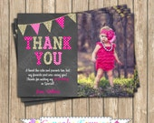 One First Birthday girl  Hot Pink Gold PRINTABLE chalkboard Photo Thank You Card  #4  chevron polka dot glitter 1st birthday - 1032