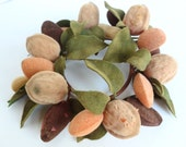 Candle Ring Wreath Flocked Mixed Nuts and Leaves