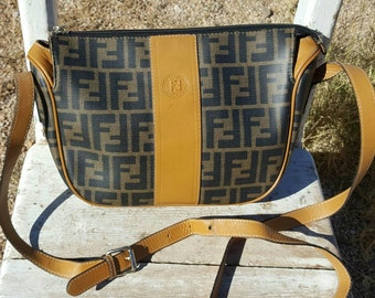Vtg Authentic Brown Fendi Italy Leather and Canvas Crossbody Bag Purse