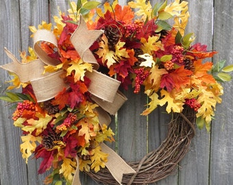 Fall Wreath,Burlap and Fall Leaves Wreath, Fall Wreath in Red, Yellow, Fall Pine Cone, Burlap, Fall Harvest Wreath, Thanksgiving Wreath
