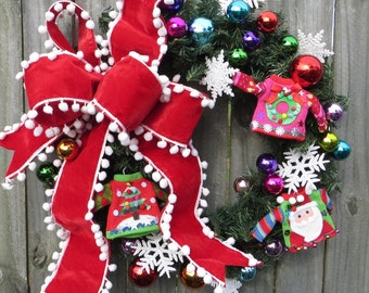 "Christmas Sweater Wreath, Christmas Wreath with ""Ugly"" Christmas Sweater, Tacky Christmas Sweater Decor, Fun Wild Christmas Wreath"