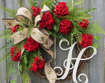 Spring Wreath, Spring Wreath with Monogram, Summer Geranium Wreath, Spring Burlap Wreath, Red Wreath, Bumble Bee Wreath, Houswarming