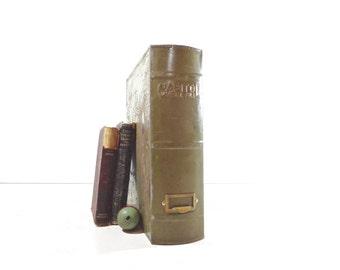Vintage Metal File Box / Industrial Book File Cabinet / Industrial Storage