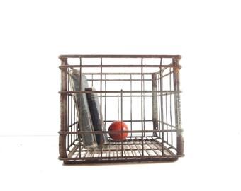 Vintage Metal Wire Crate, Industrial Storage