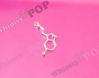 Serotonin Silver Charms, Molecule Charm, Science Charm, Geek Charm, Nerd Charm, Dopamine Charm, Dopamine, 25mm x 13mm (3-6B)
