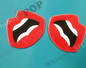 Lips Mouth Comic POP Art Inspired Red Lips Cabochons, Kiss Lips Cabochons, Lips Cabochon, 37mm x 31mm (R9-076)